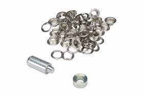 Set of 25 eyelets with washers 10 mm nickel plated
