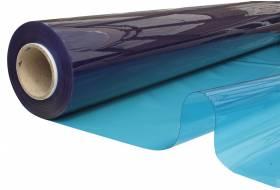 Doorzichtig zeil, vlamvertragend plastic folie 140 cm, 0,60 mm, blauw