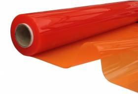 Doorzichtig zeil, vlamvertragend plastic folie 140 cm, 0,60 mm, oranje