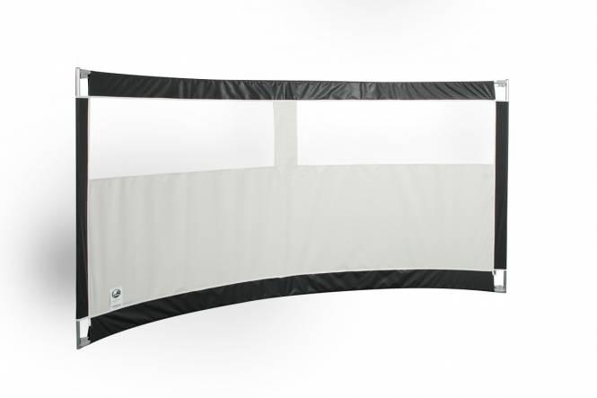 Gebogen windscherm ESVO Mistral 300 met 2 smalle ramen PVC