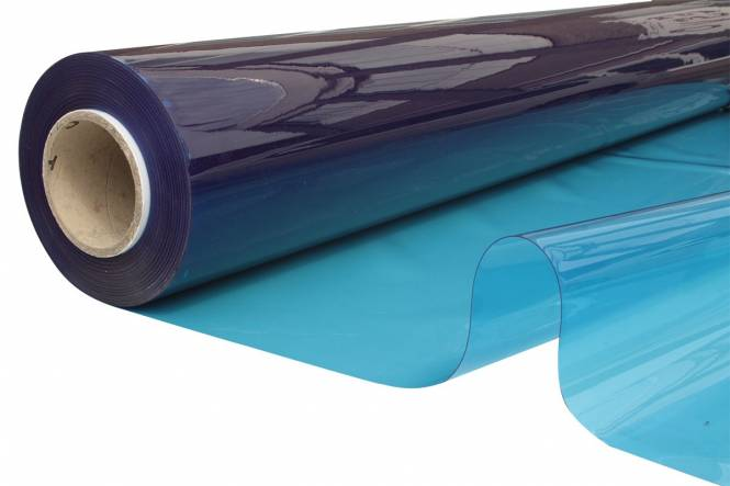 Transparant plastic FR, 140 cm, 0,60 mm, blue